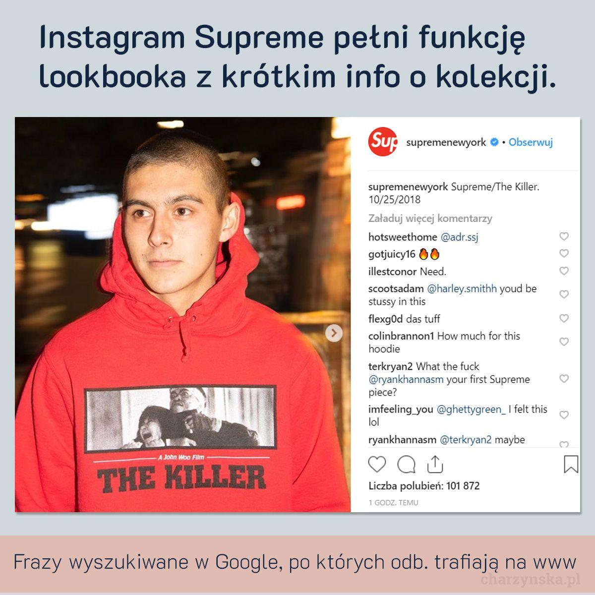 Case Study Supreme - cz. 2 Marketing - profil instagram