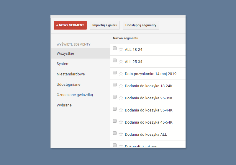 Segmenty w Google Analytics