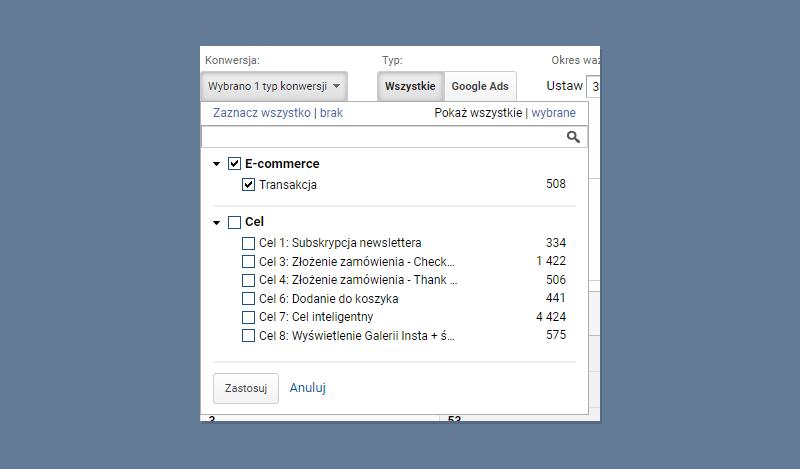 Atrybucja Google Analytics