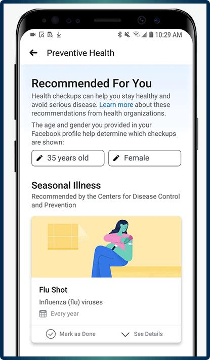funkcje facebooka profilaktyka zdrowia